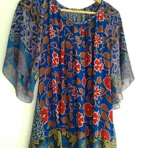 Paul Ropp Silk Floral Print Top One Size